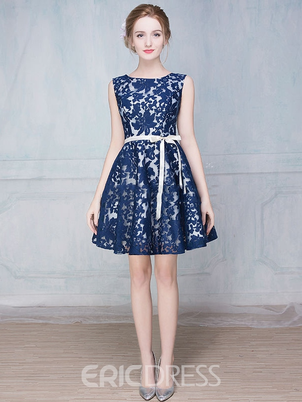 Ericdress A-Line Round Neck Sashes Lace Mini Homecoming Dress