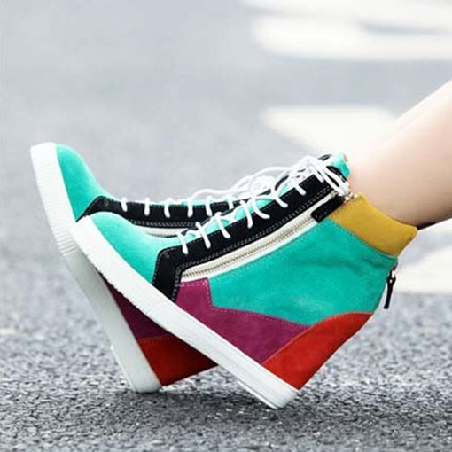 Ericdress Thread High-Cut Upper Zipper Casual Women's Sneakers