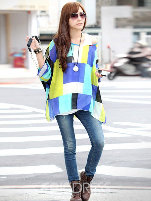 Ericdress Color Block Plaid Bohemia Blouse
