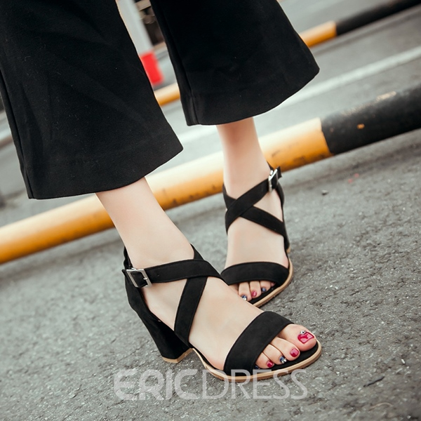 Ericdress Open Toe Suede Chunky Sandals