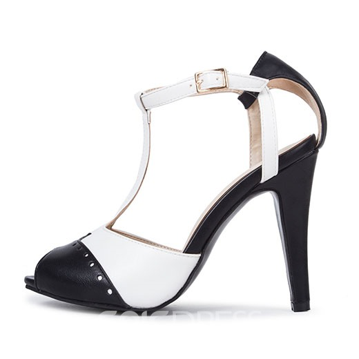 Ericdress Patchwork Color Block Hasp Peep Toe Stiletto Sandals