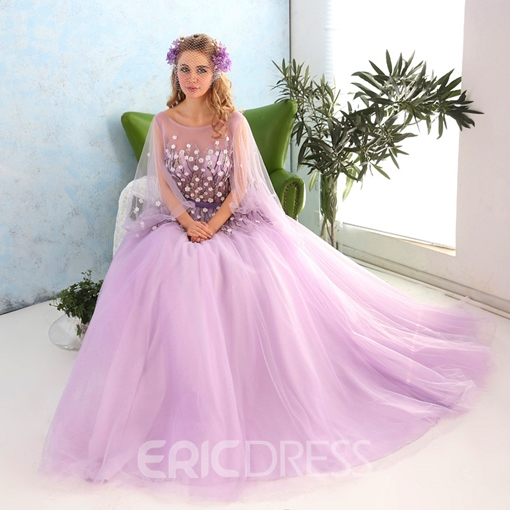 Ericdress Embroidery Flowers Beading Cap Sleeves A-line Floor Length Sweep Train Ball Gown Dress