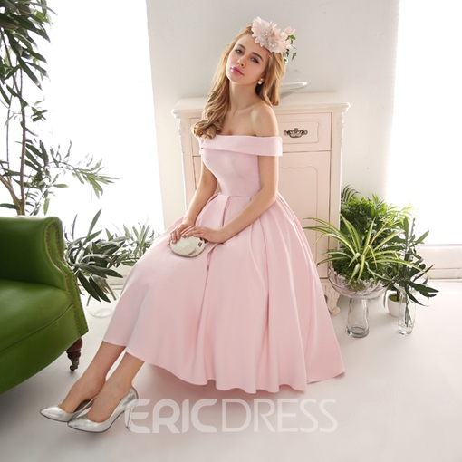 Ericdress A Line Off Shoulder Neck Pleated A-line Tea Length Prom Dress