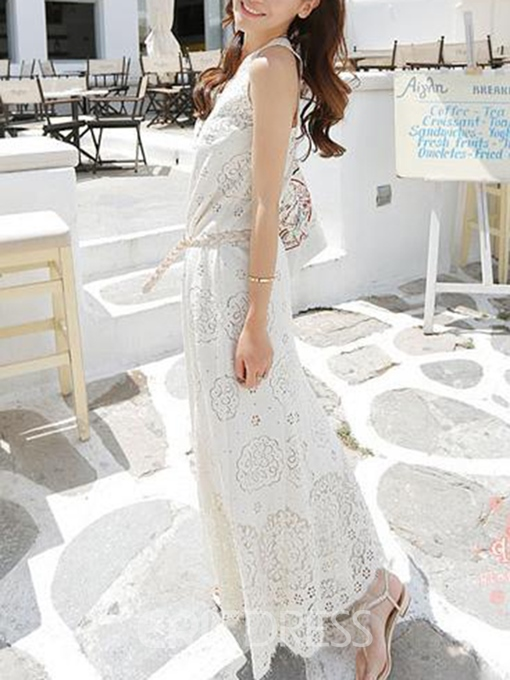 Ericdress Floral Sleeveless Belt Lace Maxi Dress
