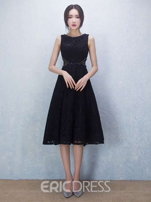 Ericdress Lace Beading Sleeveless A-line Tea Length Cocktail Dress