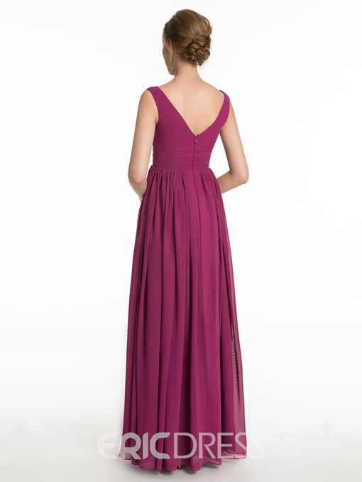 Ericdress Simple V Neck Split Front Bridesmaid Dress