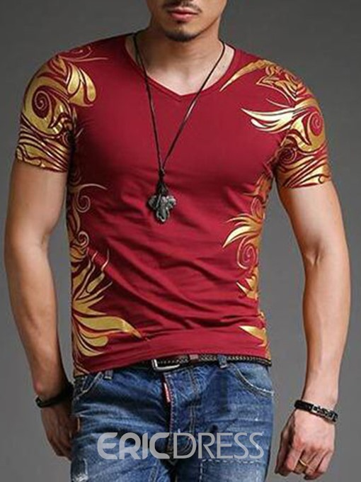 Ericdress V-Neck Printed Vogue Slim Men's T-Shirt
