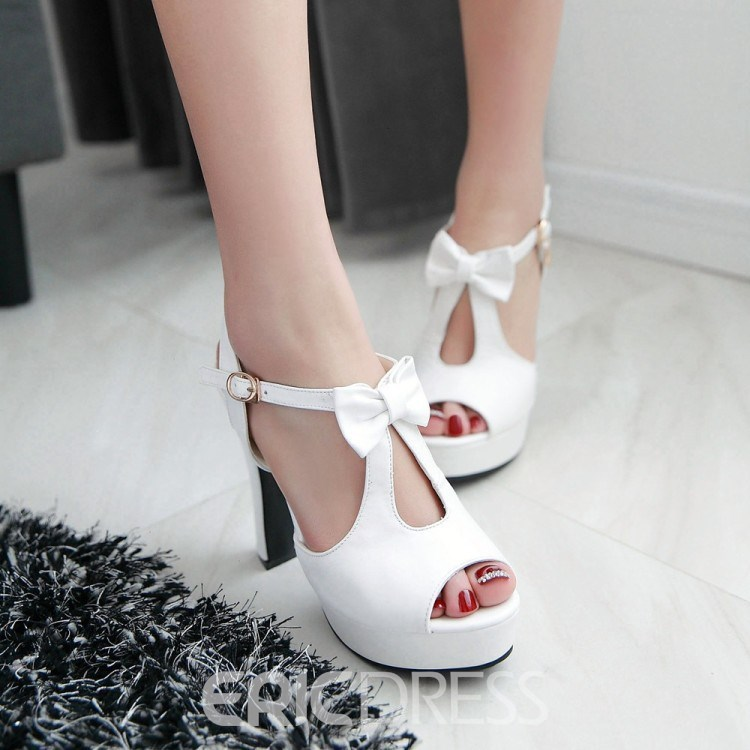 Ericdress Hot Selling Bowtie Peep Toe Chunky Sandals