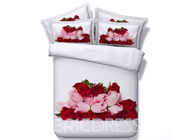 Vivilinen 3D Red Roses and Pink Tulips Printed Cotton 4-Piece Bedding Sets/Duvet Cover