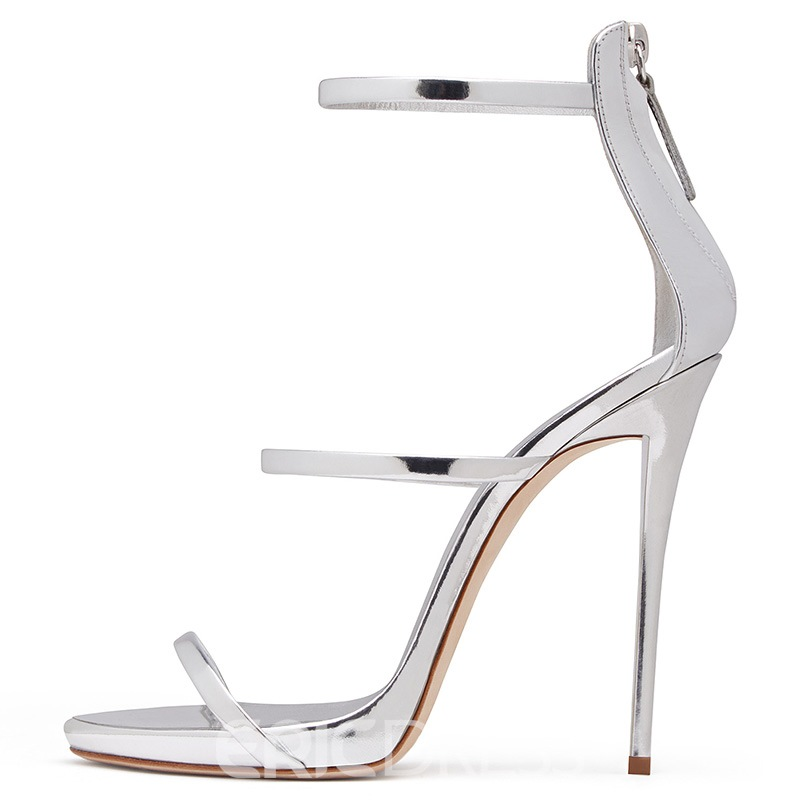 Ericdress Peep Toe Zipper Back Plain Stiletto Sandals