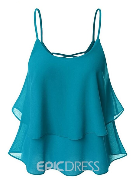 Ericdress Solid Color Backless Chiffon Vest