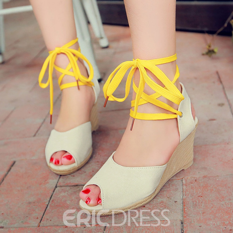 Ericdress Pretty Peep Toe Lace-Up Wedge Sandals