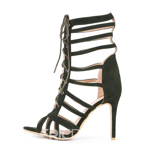 Ericdress Faux Suede Cutout Lace-Up Stilettos Sandals