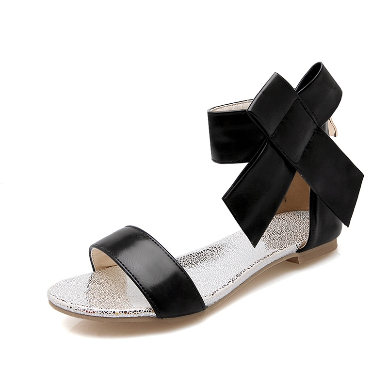 Ericdress Amazing Open Toe Plain Bowtie Zipper Flat Sandals