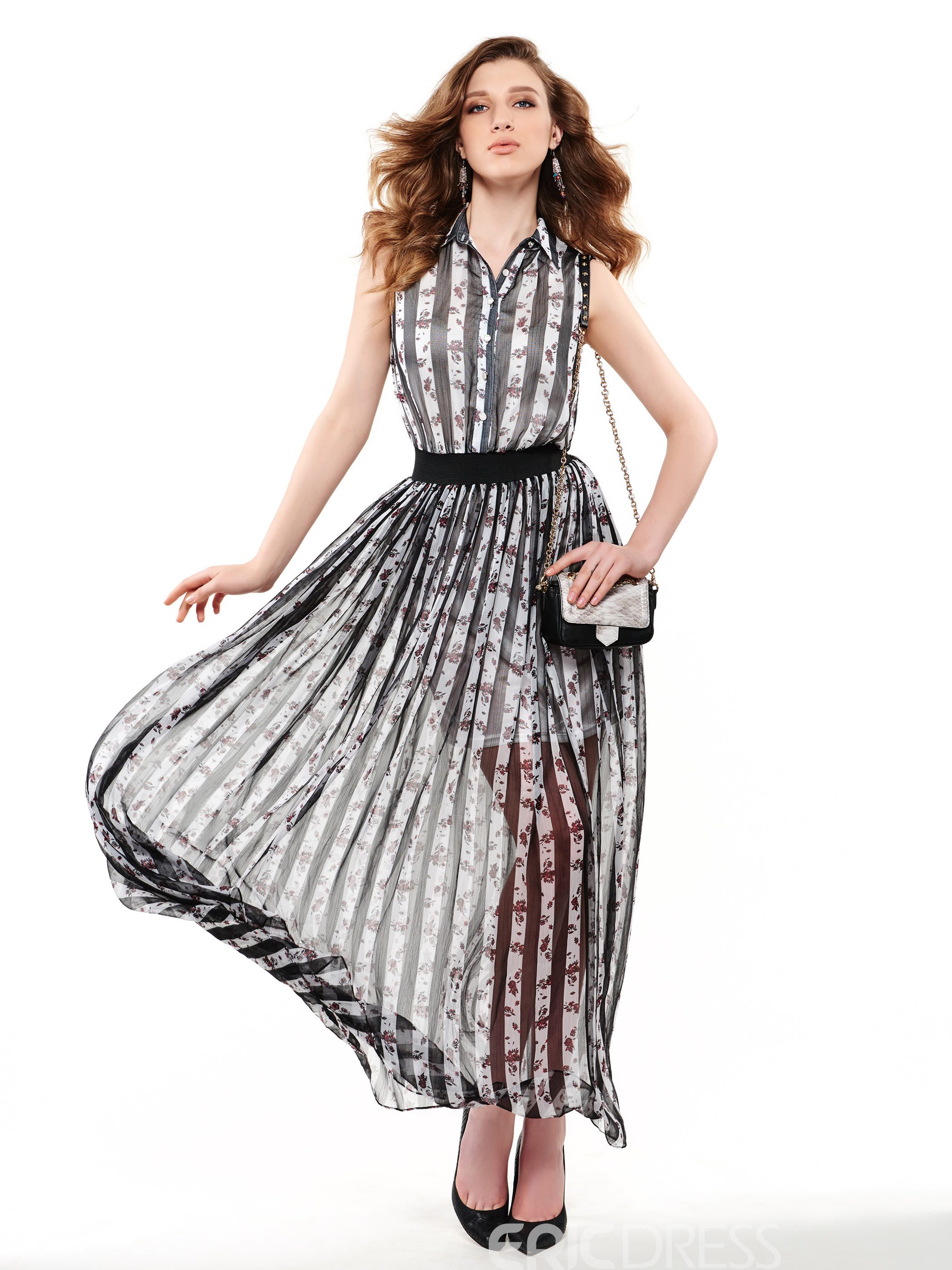 Ericdress Stripe Pleated Polo Neck Maxi Dress