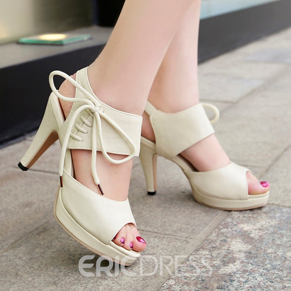 Ericdress Peep Toe Lace-Up Platform Awl Heel Strappy Stiletto Sandals