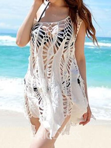 Ericdress White Loose Hollow Beach Cover Ups