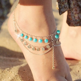 Green Beads Tassel Anklet