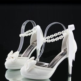 Pretty Satin Stiletto Heels Wedding Shoes