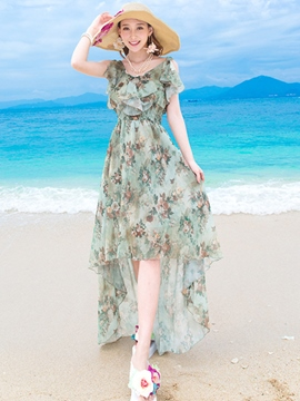 Ericdress Beach Asymmetric Wave Print Maxi Dress