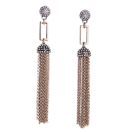 Crystal Alloy Long Tassel Earrings