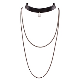 Black PU Leather Multilayer Necklace