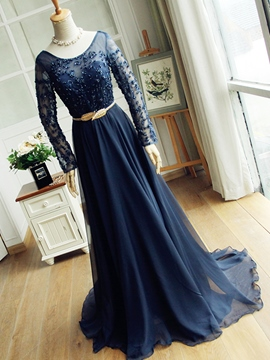 Ericdress A-Line Long Sleeves Scoop Sashes Beading Court Train Evening Dress