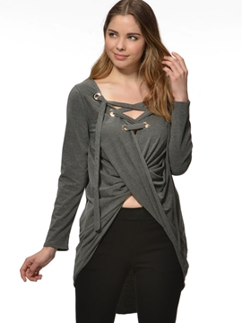 Ericdress Loose Pleated V-Neck Casual T-Shirt