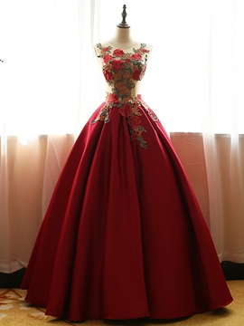 Ericdress Kugel Ball Kleid Stickerei bodenlangen Quinceanera Kleid