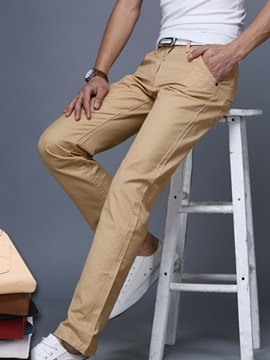 Ericdress Plain Straight Slim Casual Men's Pants