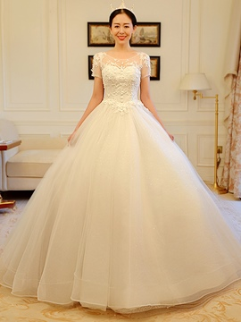 Ericdress Elegant Scoop Ball Gown Wedding Dress With Sleeves