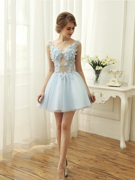 Ericdress A-Line V-Neck Appliques Pearls Mini Homecoming Dress
