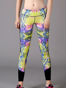 Ericdress UV Protection Print Patchwork Full Length Badminton Leggings
