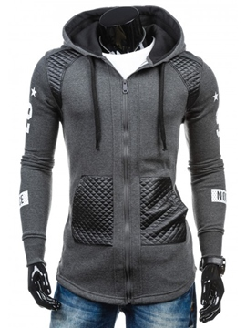 Ericdress Vogue Patchwork Slim Zip Slim Men's Hoodie