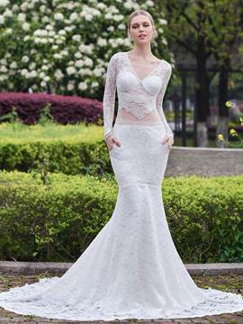 Ericdress Charming Mermaid Long Sleeves Lace Wedding Dress