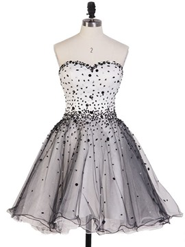 Ericdress A-Line Sweetheart Beading Mini Lace Up Homecoming Dress