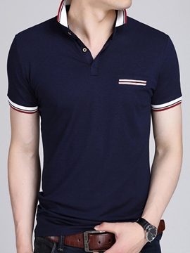 Ericdress Lapel Stripe Patchwork Short Sleeve Casual Men's Polo Shirt