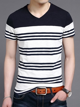Ericdress Color Block V-Neck Stripe Men's T-Shirt