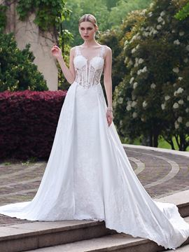 Ericdress Sexy V Neck Backless Wedding Dress