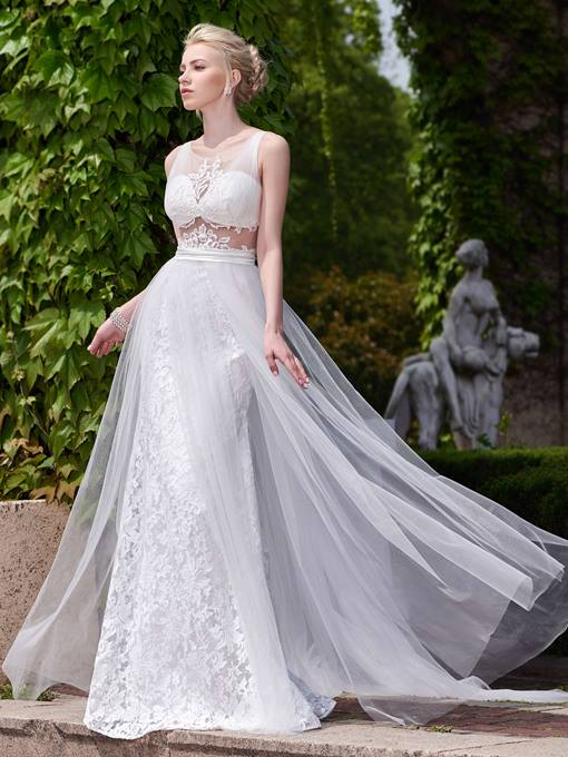 Ericdress Beading Lace Backless Beach Wedding Dress