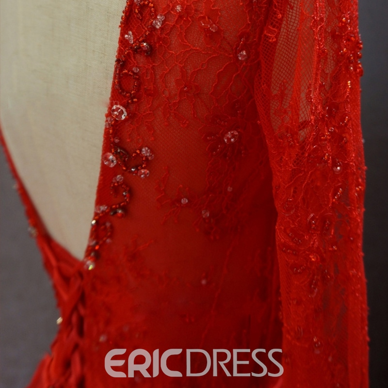 Ericdress Long Sleeves A-Line V-Neck Lace Long Evening Dress