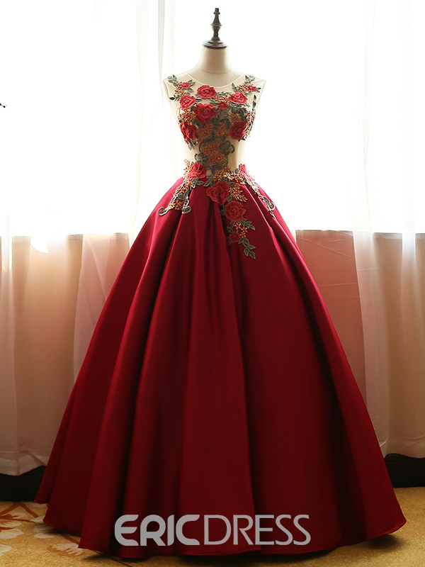 1d8001d9d82 Ericdress Scoop Ball Gown Embroidery Floor-Length Quinceanera Dress ...