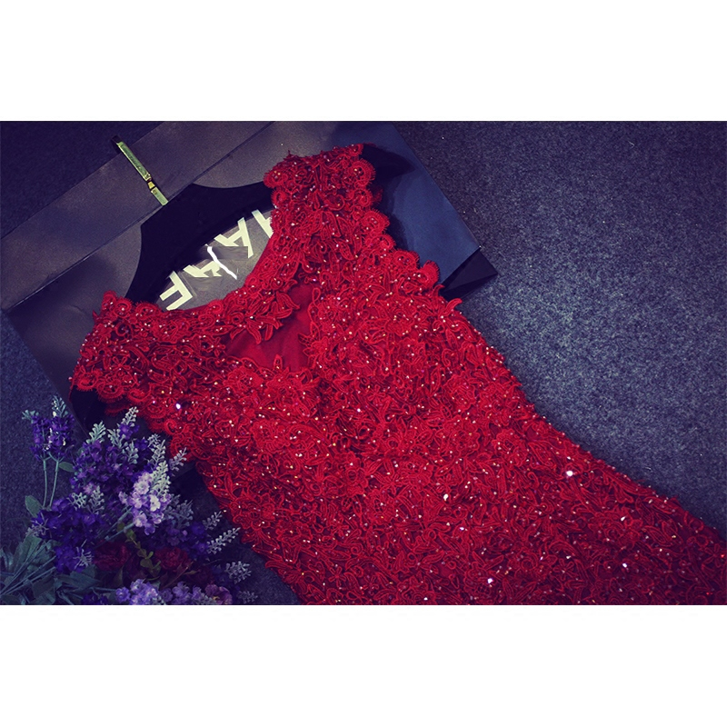 Ericdress Sheath Scoop Beading Lace Floor-Length Sweep Train Evening Dress