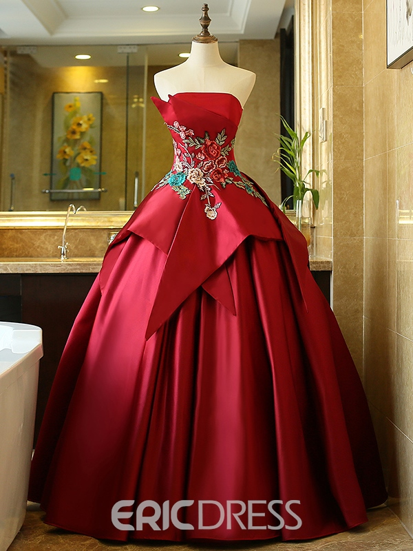 Ericdress Straplesss Ball Gown Embroidery Quinceanera Dress