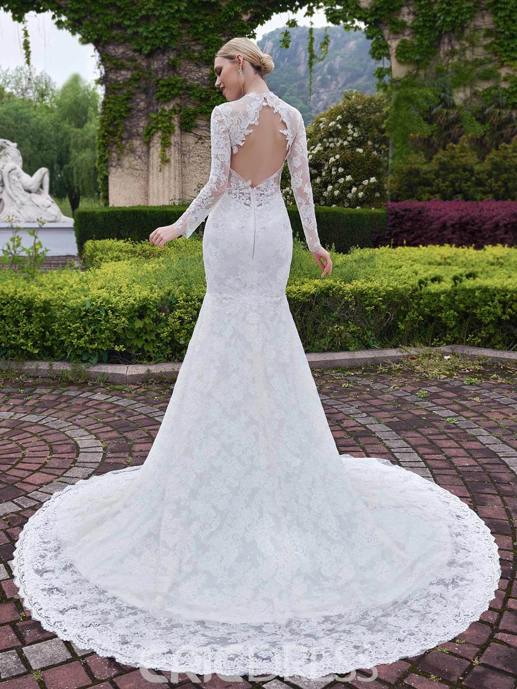 Ericdress Charming Mermaid Long Sleeves Backless Lace Wedding Dress