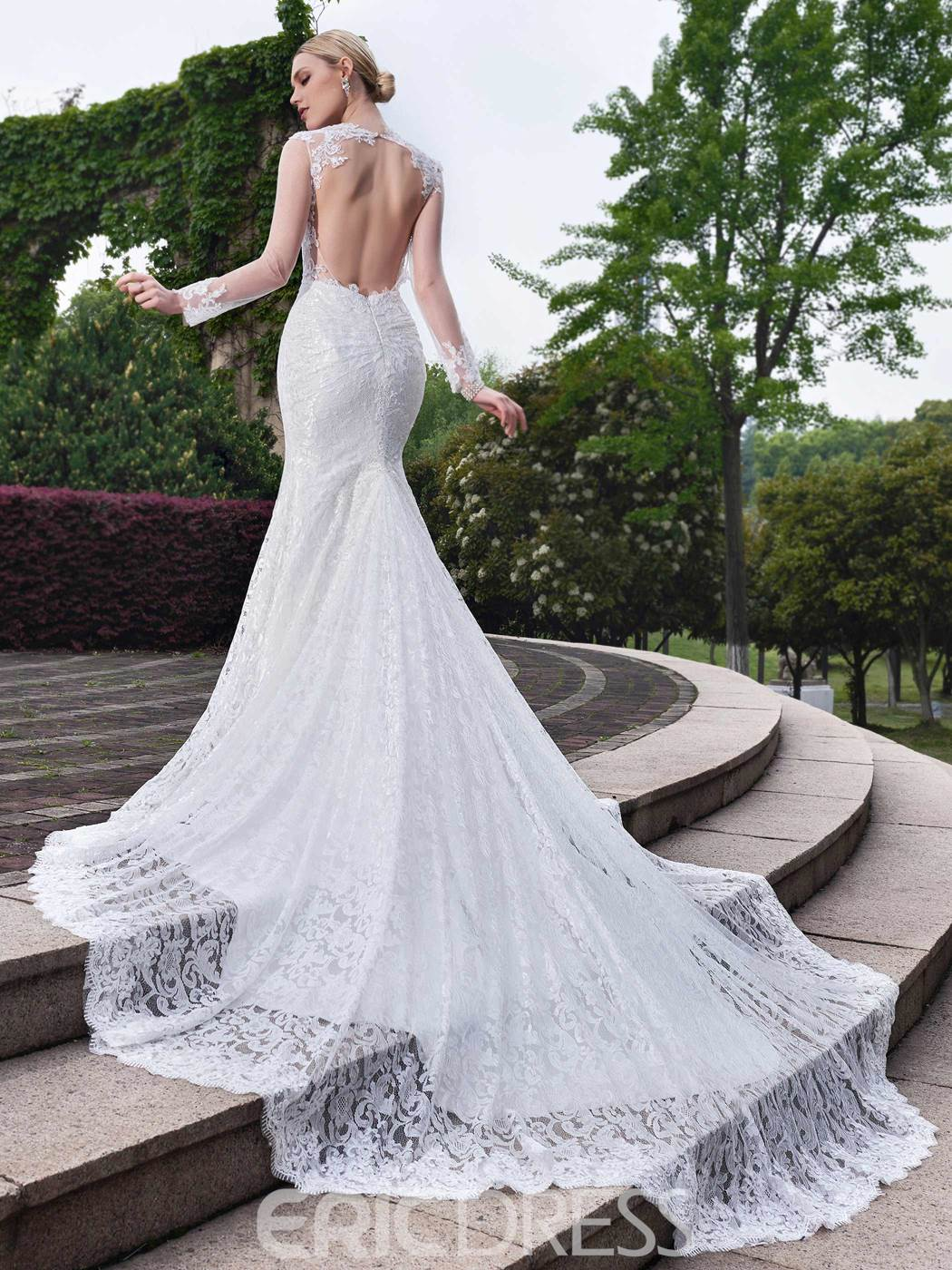 Ericdress Charming Lace Mermaid Long Sleeves Wedding Dress