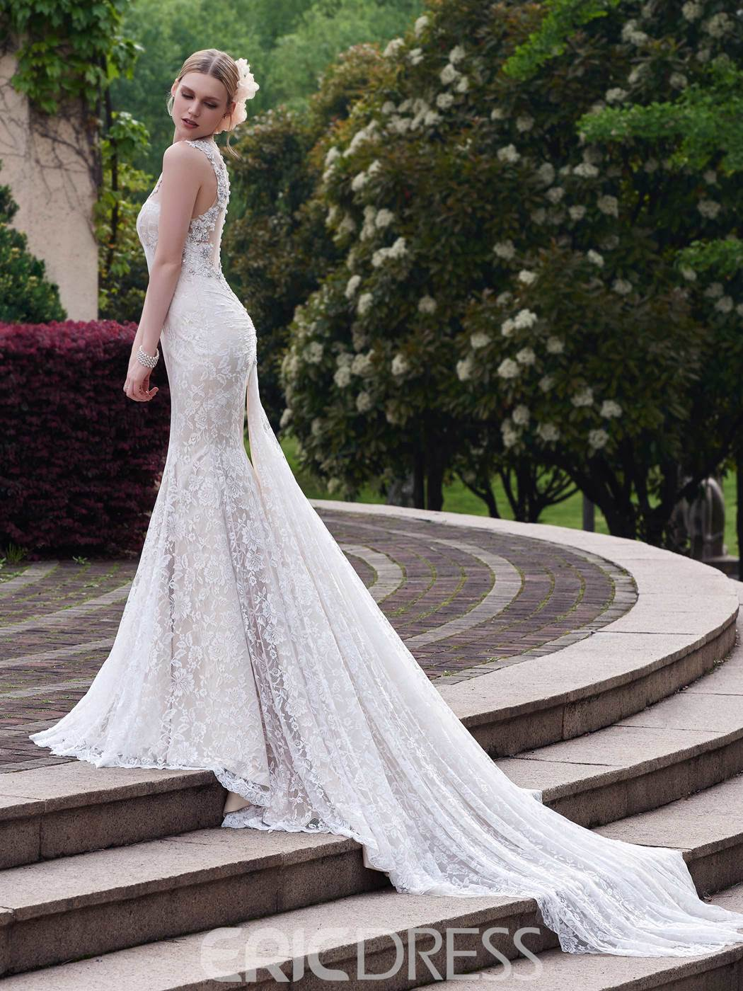 Ericdress Charming Sheer Back Lace Mermaid Designer Wedding Dress