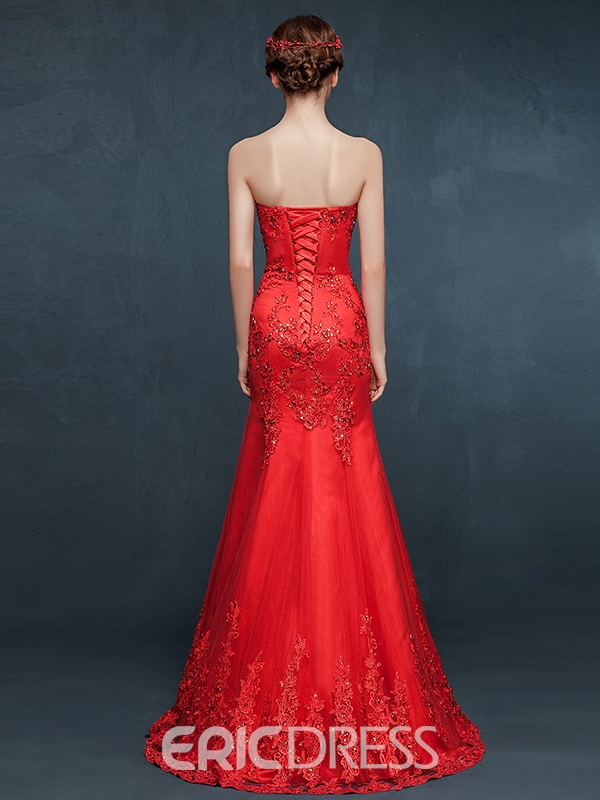 Ericdress Sheath Sweetheart Appliques Beading Evening Dress In Floor-Length