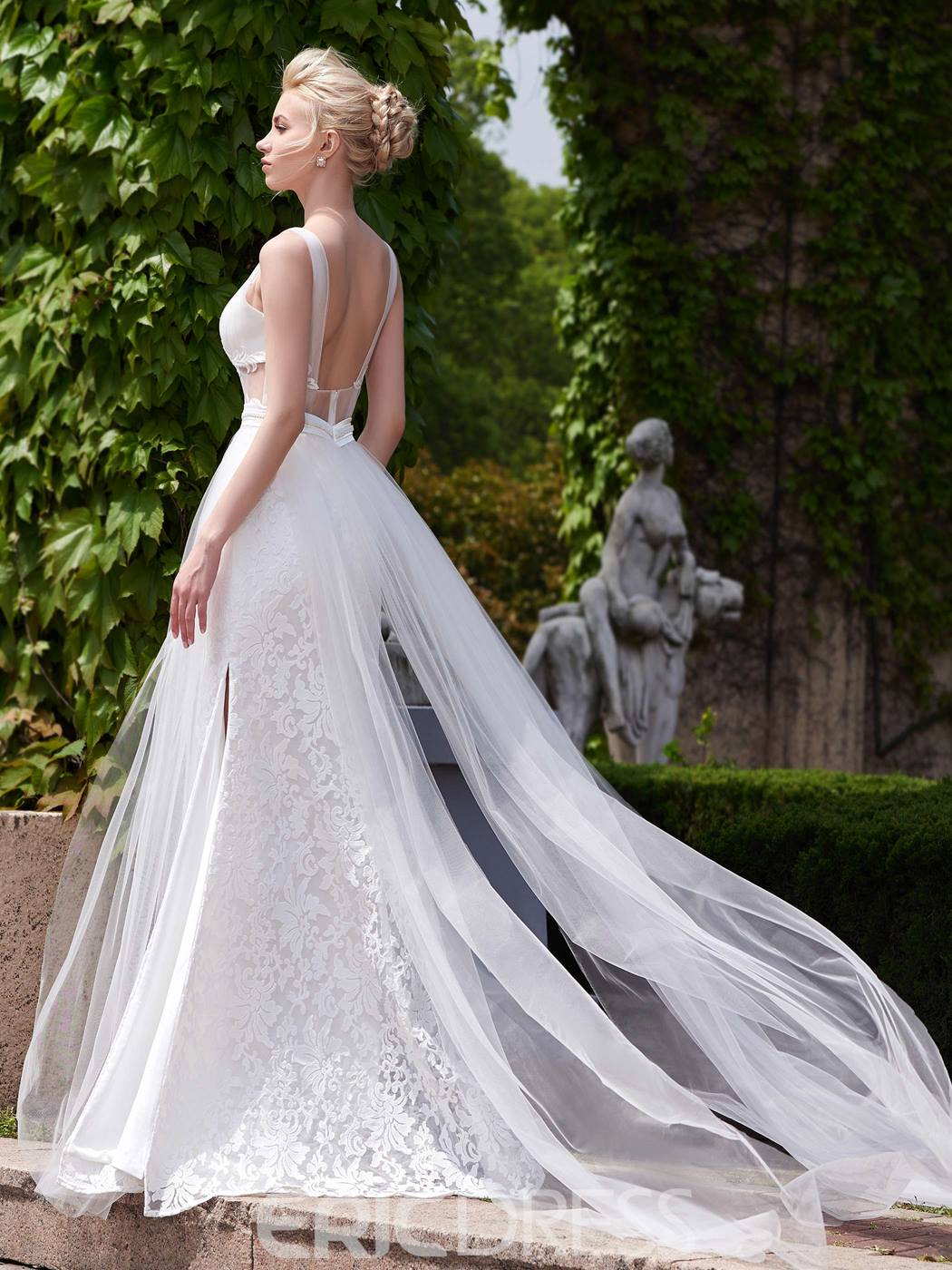 Ericdress Sexy Illusion Neckline A Line Backless Wedding Dress