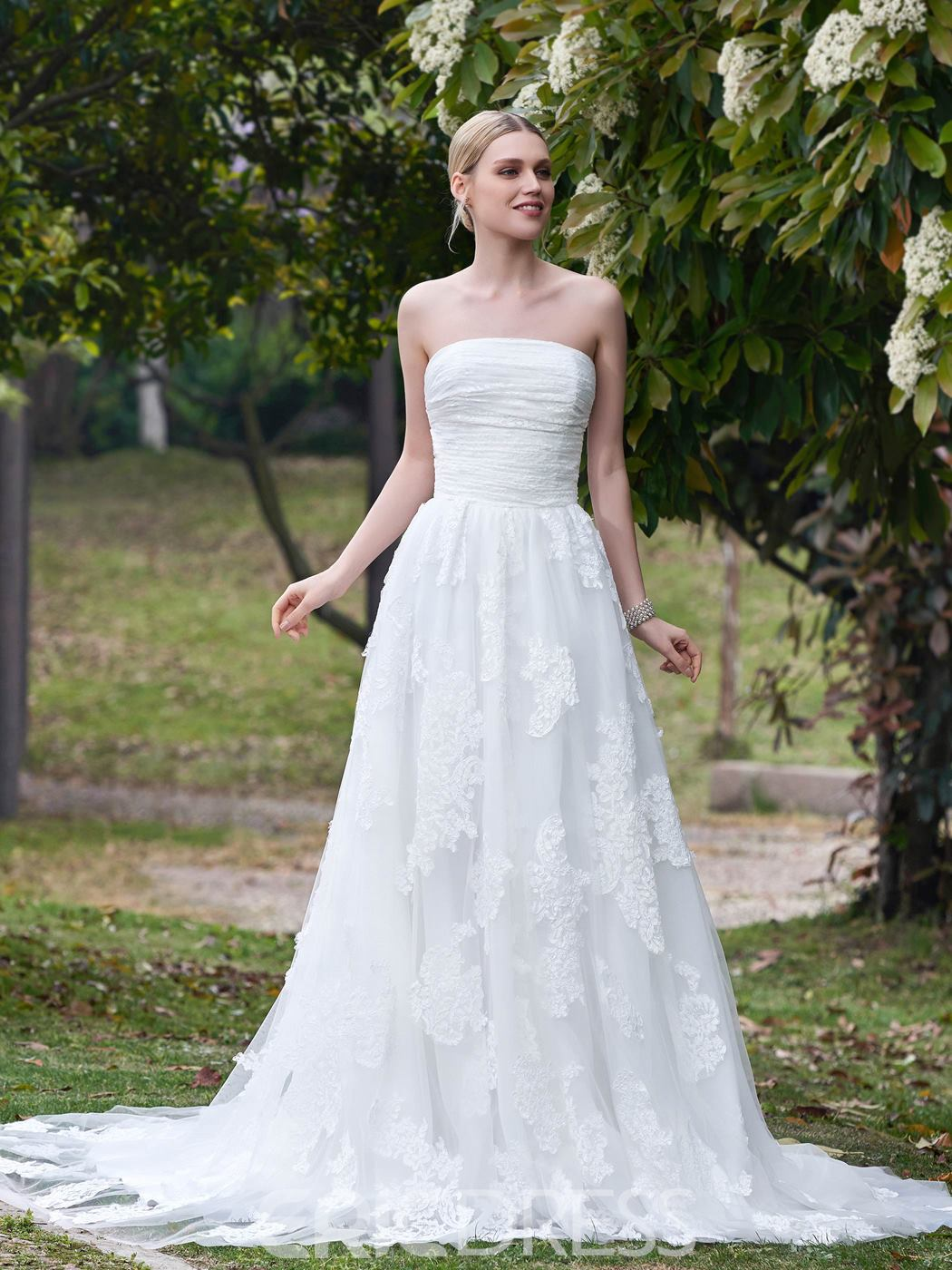Ericdress Simple Strapless A Line Wedding Dress